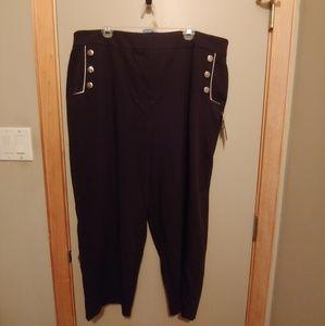 Eloquii Pants - Eloquii Button Straight Leg Pants Nautical